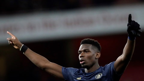 <p>               Manchester United's Paul Pogba celebrates at the end of the English FA Cup fourth round soccer match between Arsenal and Manchester United at the Emirates stadium in London, Friday, Jan. 25, 2019. (AP Photo/Matt Dunham)             </p>