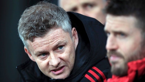 <p>               Manchester United interim manager Ole Gunnar Solskjaer, left, speaks with coach Michael Carrick during a Premier League soccer match against Newcastle United at St James' Park, Wednesday, Jan. 2, 2019, in Newcastle, England. (Owen Humphreys/PA via AP)             </p>
