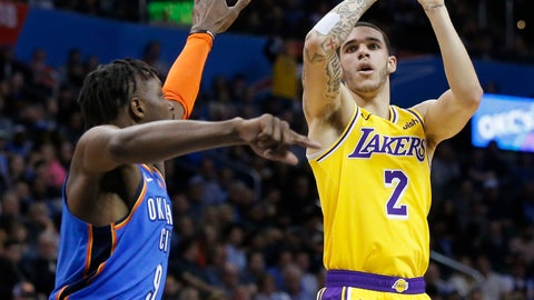 <p>               Los Angeles Lakers guard Lonzo Ball (2) shoots as Oklahoma City Thunder forward Jerami Grant defends during the first half of an NBA basketball game in Oklahoma City, Thursday, Jan. 17, 2019. (AP Photo/Sue Ogrocki)             </p>