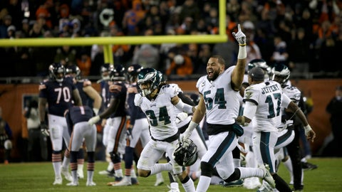 <p>               Philadelphia Eagles players celebrate after Chicago Bears kicker Cody Parkey misses a field goal in the final minute during the second half of an NFL wild-card playoff football game Sunday, Jan. 6, 2019, in Chicago. The Eagles won 16-15. (AP Photo/David Banks)             </p>