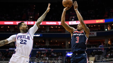 <p>               Washington Wizards guard Bradley Beal (3) shoots against Philadelphia 76ers forward Wilson Chandler (22) during the second half of an NBA basketball game, Wednesday, Jan. 9, 2019, in Washington. The Wizards won 123-106. (AP Photo/Nick Wass)             </p>