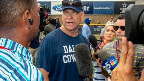 <p>               FILE - In this July 28, 2018, file photo, Dallas Cowboys offensive coordinator Scott Linehan talks with the media after morning practice at NFL football training camp, in Oxnard, Calif. Scott Linehan is out as offensive coordinator of the Dallas Cowboys only days after coach Jason Garrett sent mixed messages about the oft-criticized assistant's future. Garrett said in a statement released by the team Friday, Jan. 18, 2019, that he and Linehan had some open discussions this week and mutually agreed that a change was needed after five seasons. (AP Photo/Gus Ruelas, File)             </p>