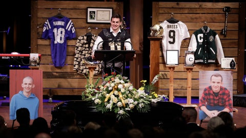 <p>               Purdue quarterback David Blough speaks during a funeral for Tyler Trent at College Park Church, Tuesday, Jan. 8, 2019, in Indianapolis. Trent, an avid Purdue fan, died on New Year's Day following a bout with bone cancer. (AP Photo/Darron Cummings, Pool)             </p>