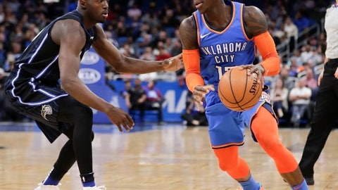 <p>               Oklahoma City Thunder's Dennis Schroder, right, looks for a way past Orlando Magic's Jerian Grant during the first half of an NBA basketball game, Tuesday, Jan. 29, 2019, in Orlando, Fla. (AP Photo/John Raoux)             </p>