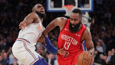 <p>               Houston Rockets' James Harden (13) drives past New York Knicks' Tim Hardaway Jr. (3) during the first half of an NBA basketball game Wednesday, Jan. 23, 2019, in New York. (AP Photo/Frank Franklin II)             </p>
