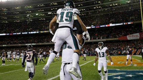 <p>               Philadelphia Eagles wide receiver Golden Tate (19) celebrates his touchdown reception with offensive tackle Lane Johnson (65) during the second half of an NFL wild-card playoff football game against the Chicago Bears Sunday, Jan. 6, 2019, in Chicago. (AP Photo/Nam Y. Huh)             </p>