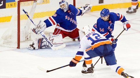 <p>               New York Islanders right wing Josh Bailey (12) scores the winning goal past New York Rangers goaltender Henrik Lundqvist (30) during the third period of an NHL hockey game, Thursday, Jan. 10, 2019, at Madison Square Garden in New York. (AP Photo/Mary Altaffer)             </p>