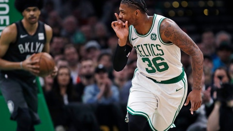 <p>               Boston Celtics guard Marcus Smart (36) taunts the Brooklyn Nets bench after hitting a three-point shot during the first quarter of an NBA basketball game in Boston, Monday, Jan. 28, 2019. (AP Photo/Charles Krupa)             </p>
