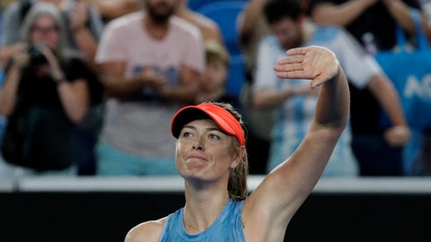 <p>               Russia's Maria Sharapova celebrates after defeating Sweden's Rebecca Peterson in their second round match at the Australian Open tennis championships in Melbourne, Australia, Thursday, Jan. 17, 2019. (AP Photo/Aaron Favila)             </p>