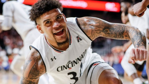 <p>               Cincinnati's Jarron Cumberland reacts after scoring in the first half of the team's NCAA college basketball game against South Florida, Tuesday, Jan. 15, 2019, in Cincinnati. (AP Photo/John Minchillo)             </p>