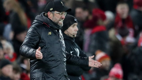 <p>               Liverpool manager Jurgen Klopp gestures during the English Premier League soccer match between Liverpool and Leicester City, at Anfield Stadium, Liverpool, England, Wednesday, Jan.29, 2019. (AP Photo/Jon Super)             </p>