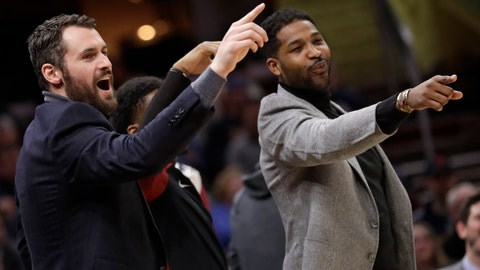 <p>               Cleveland Cavaliers' Kevin Love, left, and Tristan Thompson give support to teammates from the bench in the first half of an NBA basketball game against the Washington Wizards, Tuesday, Jan. 29, 2019, in Cleveland. The Cavaliers won 116-113. (AP Photo/Tony Dejak)             </p>