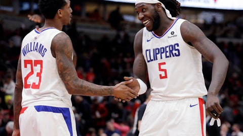 <p>               Los Angeles Clippers forward/center Montrezl Harrell, right, smiles as he celebrates with guard Lou Williams after the Clippers defeated the Chicago Bulls 106-101 in an NBA basketball game Friday, Jan. 25, 2019, in Chicago. (AP Photo/Nam Y. Huh)             </p>