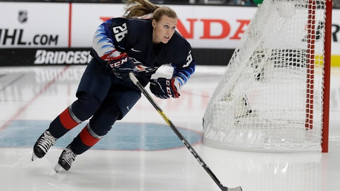 <p>               United States' Kendall Coyne skates during the Skills Competition, part of the NHL All-Star weekend, in San Jose, Calif., Friday, Jan. 25, 2019. (AP Photo/Ben Margot)             </p>