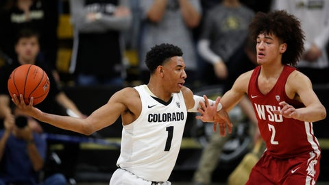 <p>               Colorado guard Tyler Bey, left, looks to pass the ball as Washington State forward CJ Elleby defends in the first half of an NCAA college basketball game Thursday, Jan. 10, 2019. (AP Photo/David Zalubowski)             </p>
