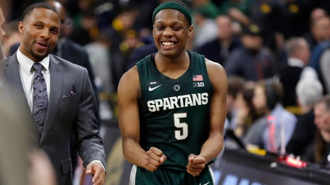 <p>               Michigan State guard Cassius Winston reacts as he walks off the court after the team's NCAA college basketball game against Iowa, Thursday, Jan. 24, 2019, in Iowa City, Iowa. Michigan State won 82-67. (AP Photo/Charlie Neibergall)             </p>