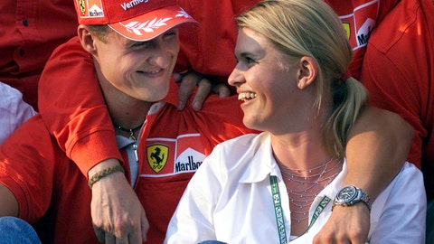 <p>               FILE - In this Aug. 19, 2001, file photo, Germany's F1 driver Michael Schumacher and his wife Corinna Schumacher, right, smile at each other during the official Ferrari World Champion photoshoot after the Grand Prix auto race in Budapest, Hungary. Schumacher's family, in a statement Wednesday, Jan. 2, 2019, has asked for understanding as it continues to keep details of his health private ahead of the seven-time Formula One champion's 50th birthday. Schumacher suffered serious head injuries in an accident while he was skiing with his teenage son Mick in the French Alps at Meribel on Dec. 29, 2013. (AP Photo/Daniel Maurer, File)             </p>