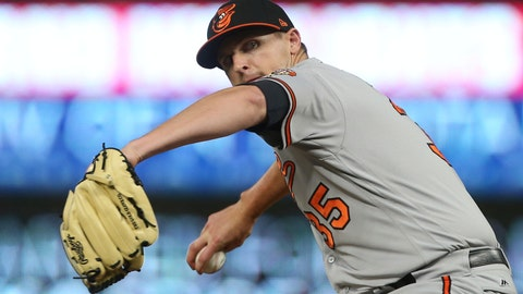 <p>               FILE - In this Thursday, July 5, 2018 file photo, Baltimore Orioles pitcher Brad Brach throws in relief in the eighth inning against the Minnesota Twins in a baseball game in Minneapolis. A person familiar with the situation says free agent reliever Brad Brach and the Chicago Cubs have agreed to a one-year contract that guarantees $4.35 million, Thursday, Jan. 24, 2019. The person spoke on the condition of anonymity because the deal has not been announced. Brach and the Cubs have options for 2020.  (AP Photo/Jim Mone, File)             </p>
