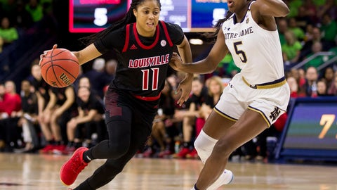 <p>               Louisville's Arica Carter (11) drives in next to Notre Dame's Jackie Young (5) during the first half of an NCAA college basketball game Thursday, Jan. 10, 2019, in South Bend, Ind. (AP Photo/Robert Franklin)             </p>