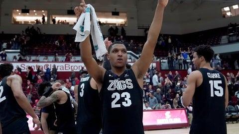 <p>               Gonzaga guard Zach Norvell Jr. (23) celebrates the team's 98-39 victory over Santa Clara in an NCAA college basketball game Thursday, Jan. 24, 2019, in Santa Clara, Calif. (AP Photo/Tony Avelar)             </p>