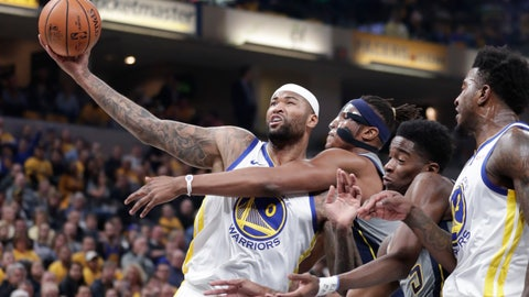 <p>               Golden State Warriors center DeMarcus Cousins (0) is fouled by Indiana Pacers center Myles Turner (33) during the first half of an NBA basketball game in Indianapolis, Monday, Jan. 28, 2019. (AP Photo/Michael Conroy)             </p>