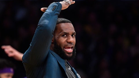 <p>               Los Angeles Lakers' LeBron James gestures from the bench during the second half of an NBA basketball game against the Cleveland Cavaliers Sunday, Jan. 13, 2019, in Los Angeles. The Cavaliers won 101-95. (AP Photo/Mark J. Terrill)             </p>