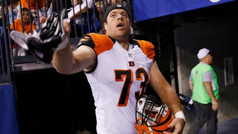 <p>               FILE - In this Sept. 3, 2015, file photo, Cincinnati Bengals' Eric Winston (73) throws his gloves to a fan following an NFL preseason football game against the Indianapolis Colts in Indianapolis. Avoiding a work stoppage in 2021 could depend on whether players can secure more guaranteed money in the next collective bargaining negotiations with the NFL. Winston says the best way to ensure more guaranteed money for players is to get them to free agency sooner. (AP Photo/AJ Mast, File)             </p>