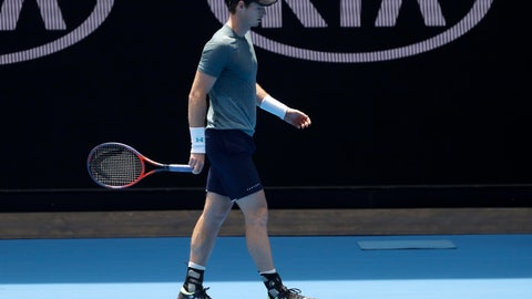 <p>               Britain's Andy Murray walks between points during his practice match against Serbia's Novak Djokovic on Margaret Court Arena ahead of the Australian Open tennis championships IN Melbourne, Australia, Thursday, Jan. 10, 2019. (AP Photo/Mark Baker)             </p>