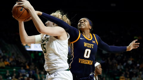 <p>               Baylor forward Lauren Cox (15) comes down with a defensive rebound in front of West Virginia forward Naomi Davenport (0) in the first half of an NCAA college basketball game, Sunday, Jan. 20, 2019, in Waco, Texas. (AP Photo/Tony Gutierrez)             </p>