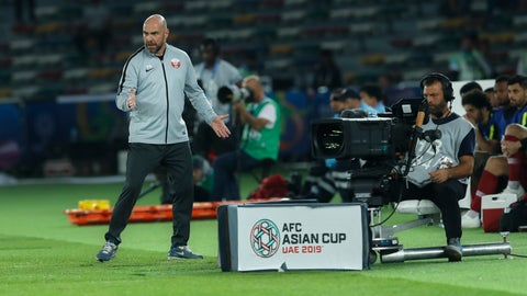<p>               Qatar's head coach Felix Sanchez, left, gestures during the AFC Asian Cup group E soccer match between Saudi Arabia and Qatar at Zayed Sport City Stadium in Abu Dhabi, United Arab Emirates, Thursday, Jan. 17, 2018. (AP Photo/Hassan Ammar)             </p>