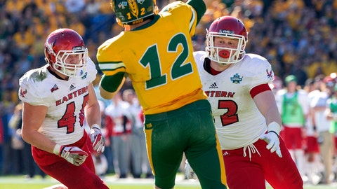 <p>               North Dakota State quarterback Easton Stick (12) throws a pass in front of the rush of Eastern Washington linebacker Ketner Kupp (40) and defensive lineman Nick Foerstel (92) during the first half of the FCS championship NCAA college football game, Saturday, Jan. 5, 2019, in Frisco, Texas. (AP Photo/Jeffrey McWhorter)             </p>