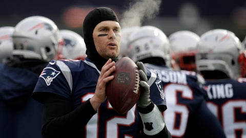 <p>               FILE - In this Dec. 31, 2017, file photo, New England Patriots quarterback Tom Brady keeps limber on the sideline in the cold weather during the first half of an NFL football game against the New York Jets, in Foxborough, Mass. His coach downplays it, but Tom Brady knows the cold-weather New England Patriots should have an advantage when they host the warm-weather Los Angeles Chargers in Sunday's AFC Divisional Round game. (AP Photo/Charles Krupa, File)             </p>