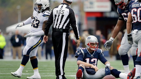 <p>               FILE - In this Oct. 29, 2017, file photo, Los Angeles Chargers defensive end Darius Philon, left, celebrates after sacking New England Patriots quarterback Tom Brady (12) during the second half of an NFL football game, in Foxborough, Mass. The Chargers held Tom Brady and New England to just one touchdown in four red zone trips in last year's game. After flummoxing Baltimore last week, Gus Bradley is hoping to come up with another successful game plan this week. (AP Photo/Steven Senne, File)             </p>