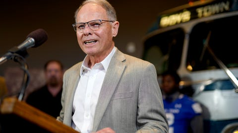 <p>               Ohio NCAA college football head coach Frank Solich, who was fired from Nebraska in 2003, smiles during a news conference in Boys Town, Neb., Tuesday, Jan. 8, 2019. Solich was in town to receive the Tom Osborne Legacy Award at the Outland Trophy awards dinner on Wednesday night. (AP Photo/Nati Harnik)             </p>