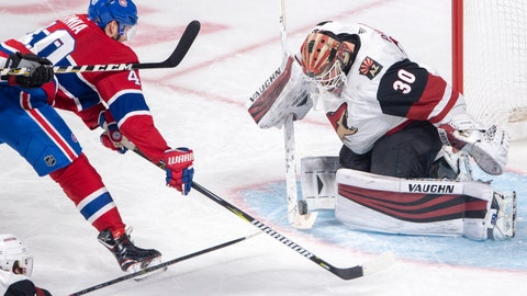 <p>               Arizona Coyotes goaltender Calvin Pickard (30) makes a save on Montreal Canadiens right wing Joel Armia (40) during the second period of an NHL hockey game Wednesday, Jan. 23, 2019, in Montreal. (Ryan Remiorz/The Canadian Press via AP)             </p>