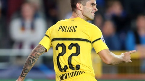 <p>               FILE - In this Sept. 18, 2018 file photo Borussia Dortmund's Christian Pulisic celebrates scoring his side's first goal during a Champions League group A soccer match between Club Brugge and Borussia Dortmund at the Jan Breydel Stadium in Bruges, Belgium. Borussia Dortmund said in a statement on Wednesday, Jan. 2, 2019 that Chelsea found an agreement with Pulisic but he will remain on loan in Dortmund until the end of the season.  (AP Photo/Francisco Seco, file)             </p>