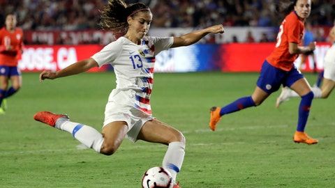 <p>               FILE - In this Aug. 31, 2018, file photo, United States' Alex Morgan shoots on goal against Chile during the first half of an international friendly soccer match, in Carson, Calif. Two goals away from reaching 100 for her career, forward Morgan is on the roster for the U.S. women's national team as it opens training camp ahead of the World Cup in France this summer. (AP Photo/Marcio Jose Sanchez, File)             </p>