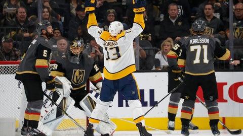 <p>               Nashville Predators center Nick Bonino (13) celebrates after scoring against the Vegas Golden Knights during the second period of an NHL hockey game Wednesday, Jan. 23, 2019, in Las Vegas. (AP Photo/John Locher)             </p>