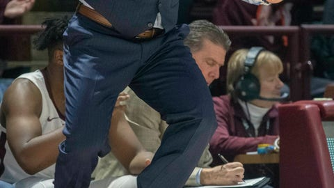 <p>               Virginia Tech head coach Buzz Williams yells to his team during the first half of an NCAA college basketball game Saturday, Jan. 19, 2019, in Blacksburg, Va. (AP Photo/Don Petersen)             </p>
