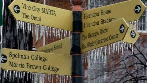 <p>               In this Jan. 23, 2000, file photo, ice forms on a street sign on the campus of Morris Brown College following an overnight ice storm in Atlanta. When an ice storm blanketed Atlanta before the city's last Super Bowl in 2000, the fear was the big game would never return. Atlanta Falcons owner Arthur Blank's $1.5 billion Mercedes-Benz Stadium quickly swayed the NFL owners to give Atlanta another chance. (AP Photo/Dave Martin, File)             </p>