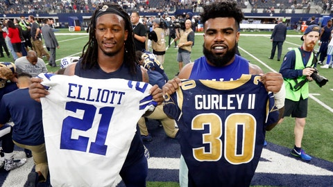 <p>               FILE - In this Oct. 1, 2017, file photo, Los Angeles Rams' Todd Gurley, left, and Dallas Cowboys' Ezekiel Elliott, right, swap jerseys after an NFL football game, in Arlington, Texas. Gurley is a big football fan, and Elliott is one of his favorite players. The good feelings are mutual heading into the Cowboys' playoff visit to the Rams and a showdown between the NFL's two premiere running backs. (AP Photo/Michael Ainsworth, File)             </p>