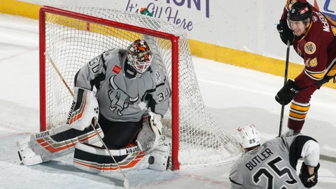 San Antonio Rampage goalie Jared Coreau in a January 2019 game vs. the Chicago Wolves.