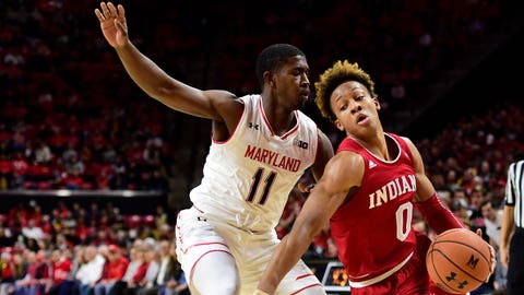 Jan 11, 2019; College Park, MD, USA; Indiana Hoosiers guard Romeo Langford (0) dribbles as Maryland Terrapins guard Darryl Morsell (11) defends during the first half at XFINITY Center. Mandatory Credit: Tommy Gilligan-USA TODAY Spor