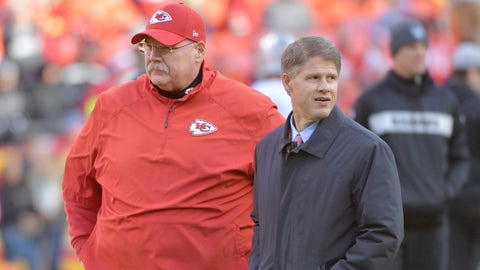 Dec 30, 2018; Kansas City, MO, USA; Kansas City Chiefs head coach Andy Reid (right) talks with chairman and CEO Clark Hunt on field before a game against the Oakland Raiders at Arrowhead Stadium. Mandatory Credit: Denny Medley-USA TODAY Sports