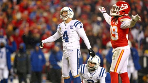 Jan 12, 2019; Kansas City, MO, USA; Indianapolis Colts kicker Adam Vinatieri (4) reacts after missing an extra point during the fourth quarter against the Kansas City Chiefs in an AFC Divisional playoff football game at Arrowhead Stadium. Mandatory Credit: Mark J. Rebilas-USA TODAY Sports