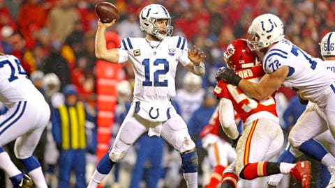 Jan 12, 2019; Kansas City, MO, USA; Indianapolis Colts quarterback Andrew Luck (12) throws a pass against Kansas City Chiefs outside linebacker Dee Ford (55) during the third quarter in an AFC Divisional playoff football game at Arrowhead Stadium. Mandatory Credit: Mark J. Rebilas-USA TODAY Sports
