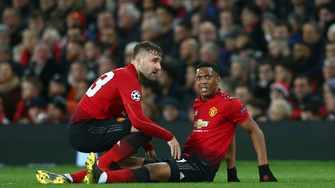 <p>               Manchester United's Luke Shaw, left, speaks to Manchester United's Anthony Martial who is injured during the Champions League round of 16 soccer match between Manchester United and Paris Saint Germain at Old Trafford stadium in Manchester, England, Tuesday, Feb. 12,2019.(AP Photo/Dave Thompson)             </p>