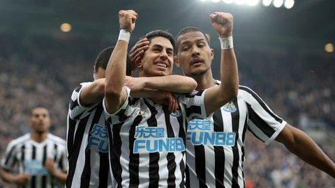 <p>               Newcastle United's Ayoze Perez celebrates scoring his side's second goal of the game against Huddersfield Town, during their English Premier League soccer match at St James' Park in Newcastle, England, Saturday Feb. 23, 2019. (Owen Humphreys/PA via AP)             </p>