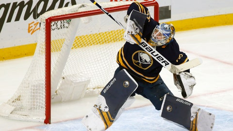 <p>               Buffalo Sabres goalie Linus Ullmark (35) makes a save during the first period of an NHL hockey game against the Detroit Red Wings, Saturday, Feb. 9, 2019, in Buffalo N.Y. (AP Photo/Jeffrey T. Barnes)             </p>