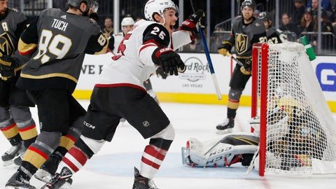 <p>               Arizona Coyotes center Nick Cousins (25) celebrates after scoring against the Vegas Golden Knights during the third period of an NHL hockey game Tuesday, Feb. 12, 2019, in Las Vegas. (AP Photo/John Locher)             </p>